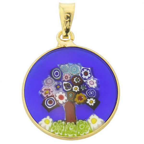 """Small Millefiori Pendant \""""Tree Of Life\"""" in Gold-Plated Frame 18mm"""