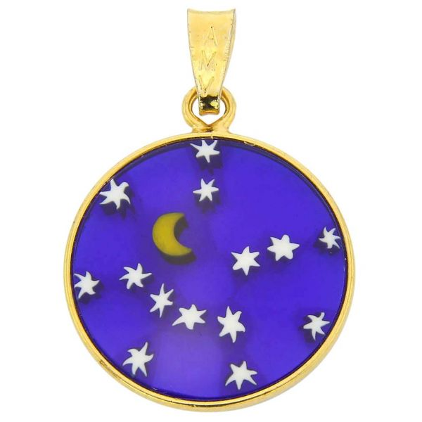 """Small Millefiori Pendant \""""Starry Night\"""" in Gold-Plated Frame 18mm"""