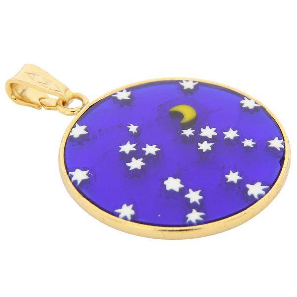 "Medium Millefiori Pendant \""Starry Night\"" in Gold-Plated Frame 23mm"