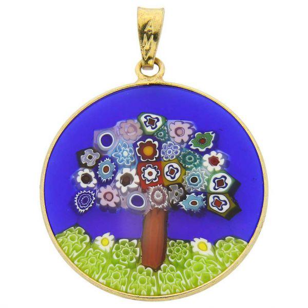 "Medium Millefiori Pendant \""Tree Of Life\"" in Gold-Plated Frame 26mm"