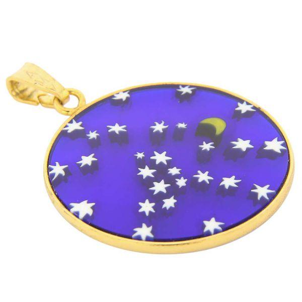 "Medium Millefiori Pendant \""Starry Night\"" in Gold-Plated Frame 26mm"