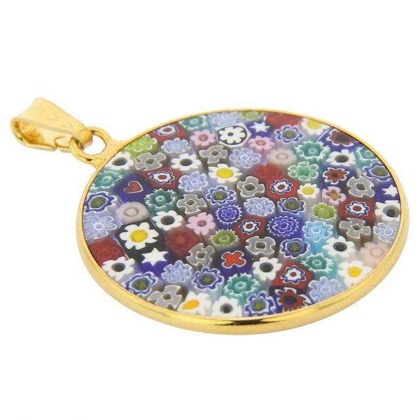 """Medium Millefiori Pendant \""""Multicolor\"""" in Gold-Plated Frame 26mm"""