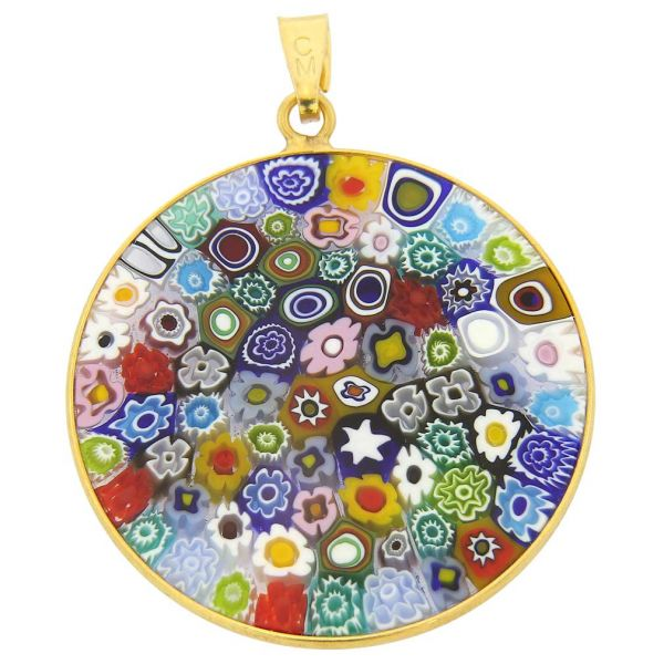 """Large Millefiori Pendant \""""Multicolor\"""" in Gold-Plated Frame 32mm"""