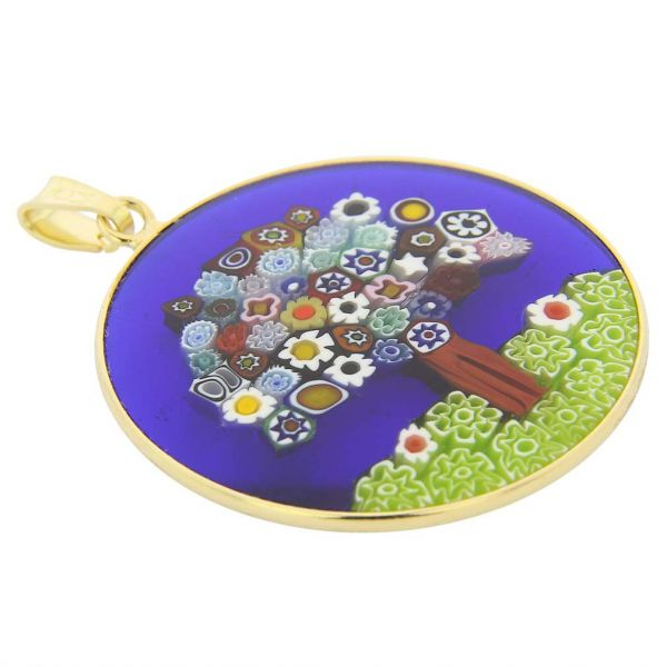 """Large Millefiori Pendant \""""Tree Of Life\"""" in Gold-Plated Frame 32mm"""