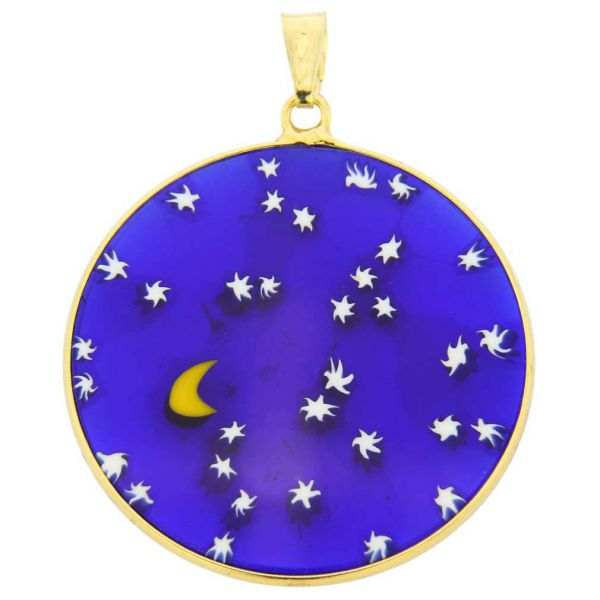 """Large Millefiori Pendant \""""Starry Night\"""" in Gold-Plated Frame 32mm"""
