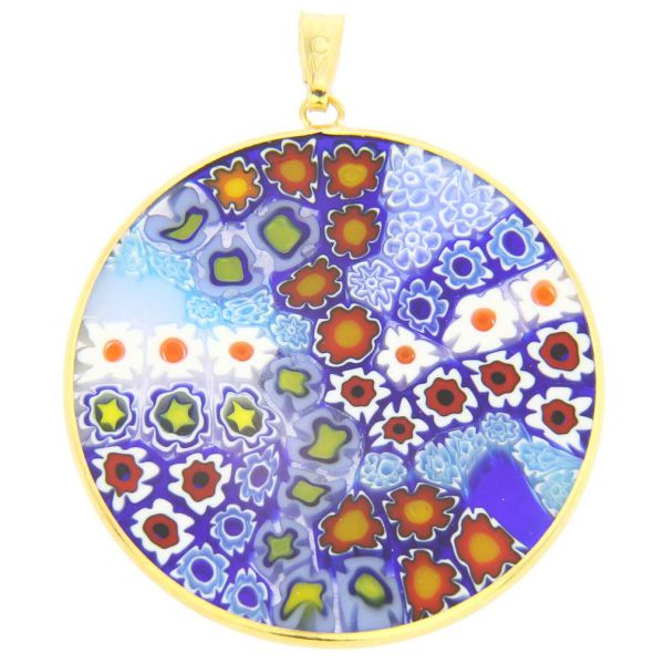 Large Millefiori Pendant in Gold-Plated Frame 36mm