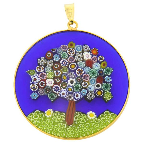 """Large Millefiori Pendant \""""Tree Of Life\"""" in Gold-Plated Frame 36mm"""