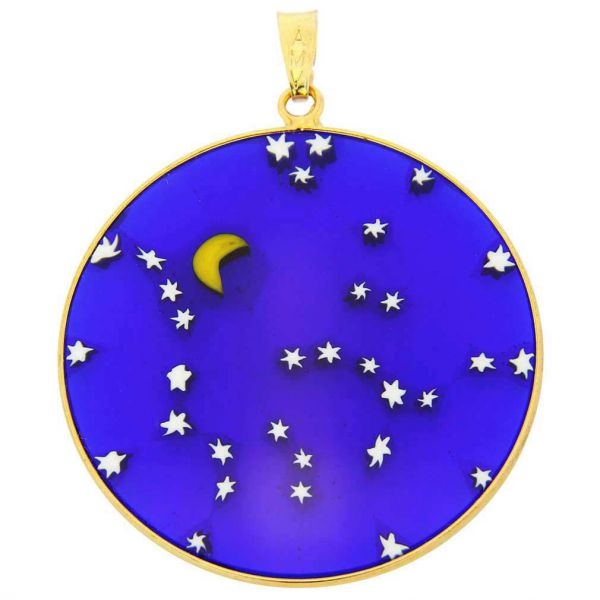 """Large Millefiori Pendant \""""Starry Night\"""" in Gold-Plated Frame 36mm"""