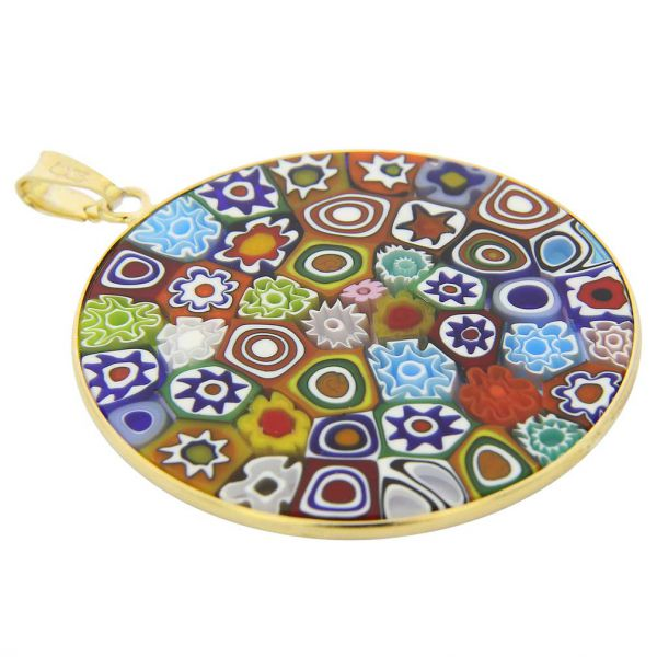 """Large Millefiori Pendant \""""Multicolor\"""" in Gold-Plated Frame 36mm"""