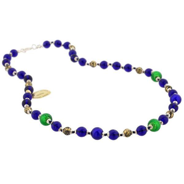 Antique Venetian Beads Murano Glass Necklace - Aqua
