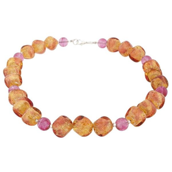Antique Venetian Beads Murano Glass Necklace - Silver Multicolor