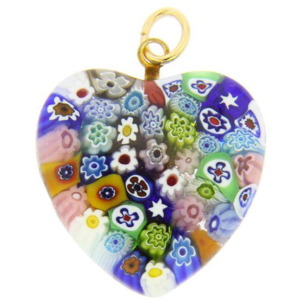 Millefiori Heart Pendant Medium - Multicolor