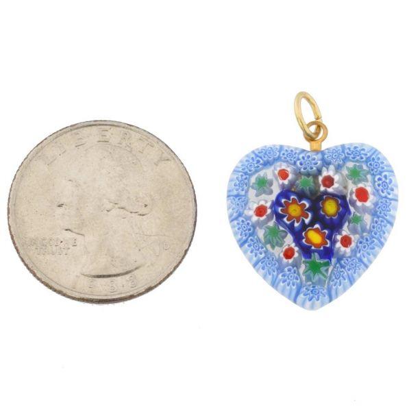 Millefiori Heart Pendant Medium - Blue and Red