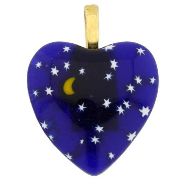 Millefiori Heart Pendant Medium - Starry Night