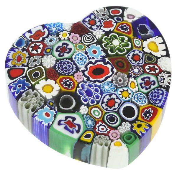Murano Millefiori Heart Paperweight - Large