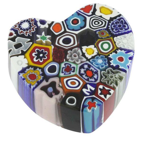 Murano Millefiori Heart Paperweight - Medium