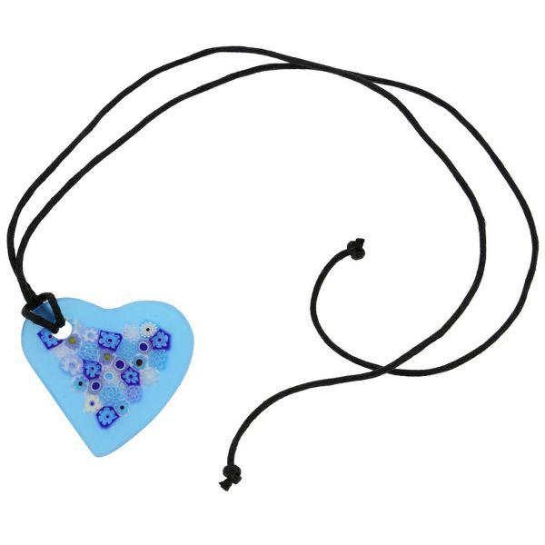 Matte Millefiori Heart Necklace - Blue