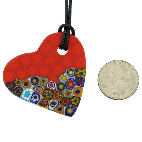 Matte Millefiori Heart Necklace - Mezzo Red