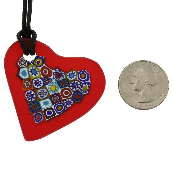 Matte Millefiori Heart Necklace - Red