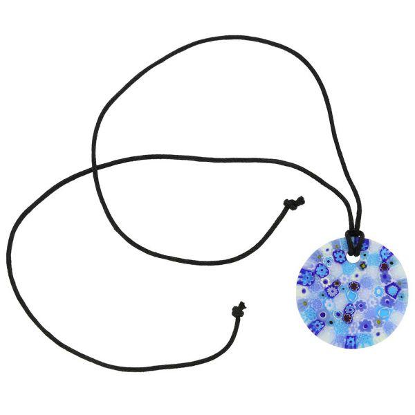 Matte Millefiori Round Necklace - Blue