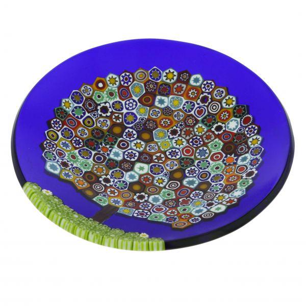 Murano Millefiori Round Plate - Tree of Life