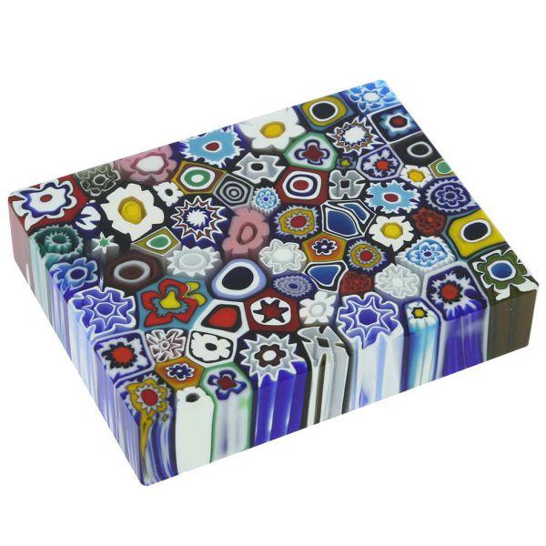 Murano Millefiori Rectangle Paperweight - Large