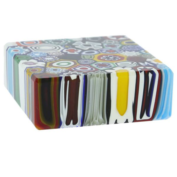 Murano Millefiori Square Paperweight - Medium