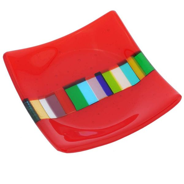 Murano Glass Ruby Red Plate With Rainbow Ribbon