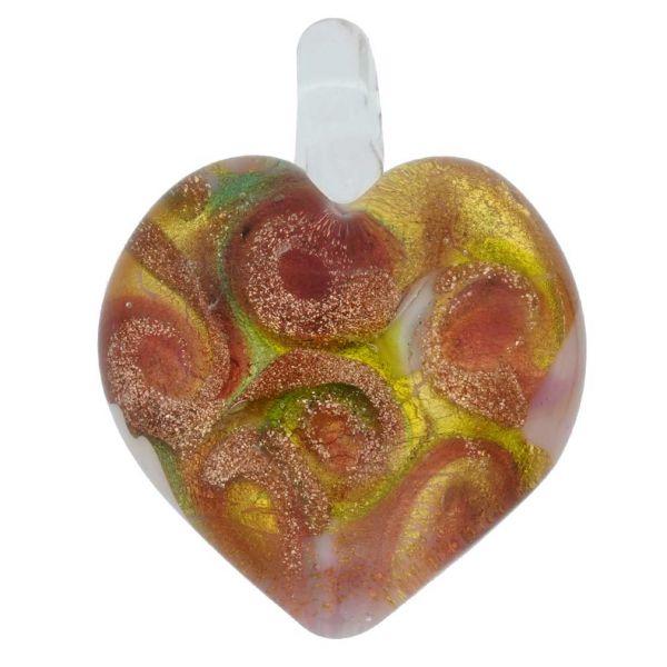Tender Heart Pendant- Multicolor Swirl