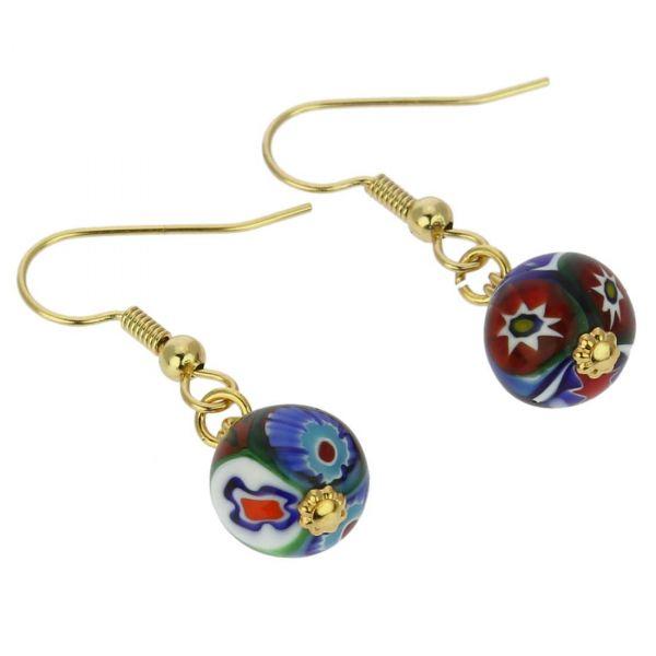Murano Mosaic Millefiori Ball Earrings - Gold