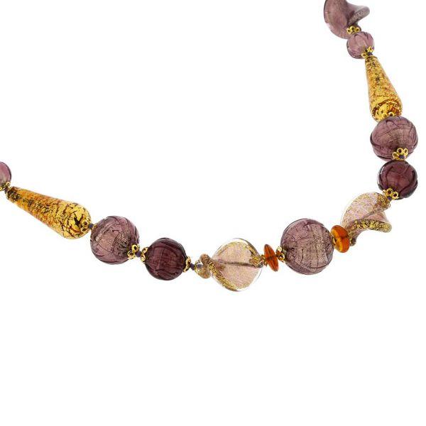 Necklace Murano Splendor - Purple and Gold