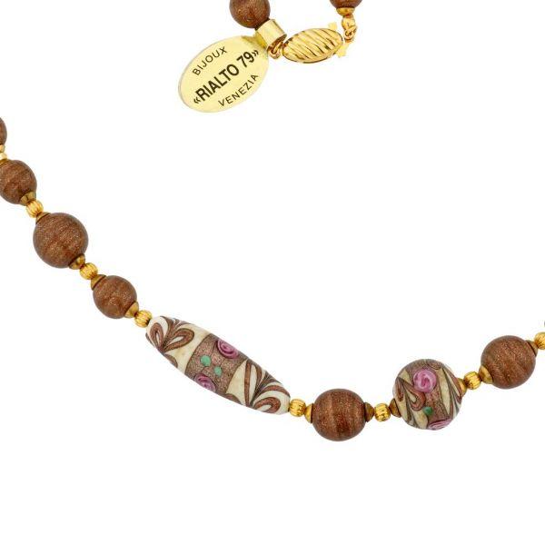 Antique Venetian Beads Murano Glass Necklace - Milky White