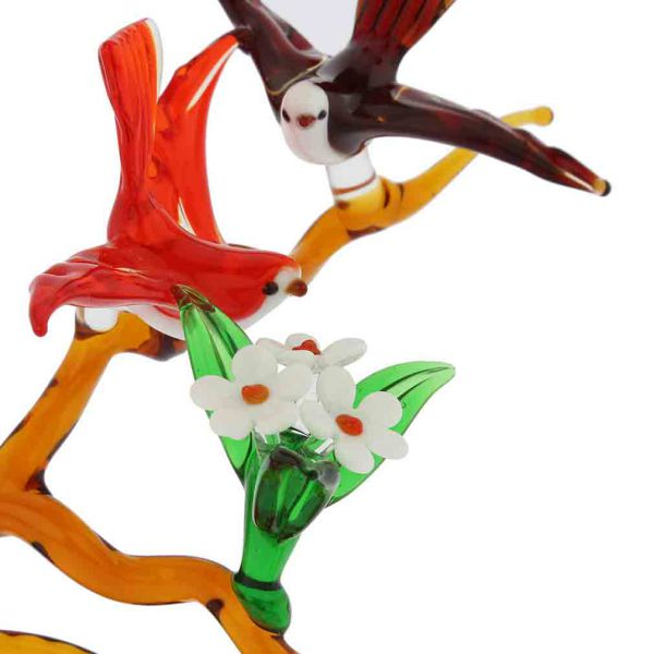 Murano Glass Birds On A Tall Blooming Branch - Red