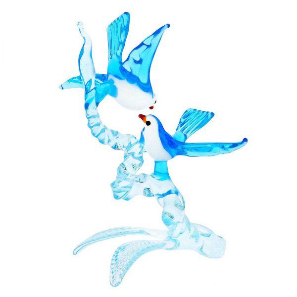 Murano Glass Birds On A Branch - Blue