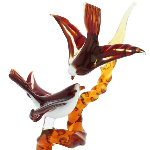 Murano Glass Birds On A Branch - Golden Brown Red