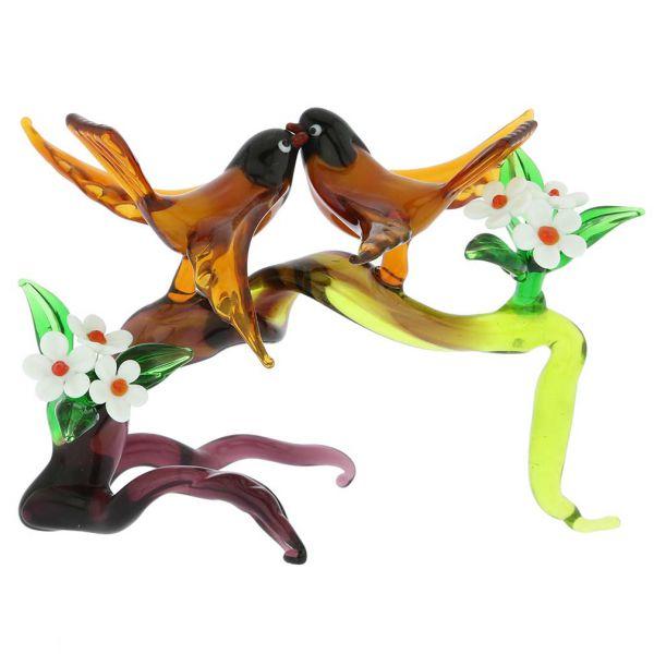 Murano Glass Birds On A Cherry Branch - Golden Brown