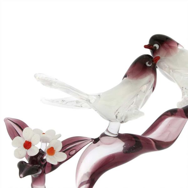 Murano Glass Birds On A Cherry Branch - Purple