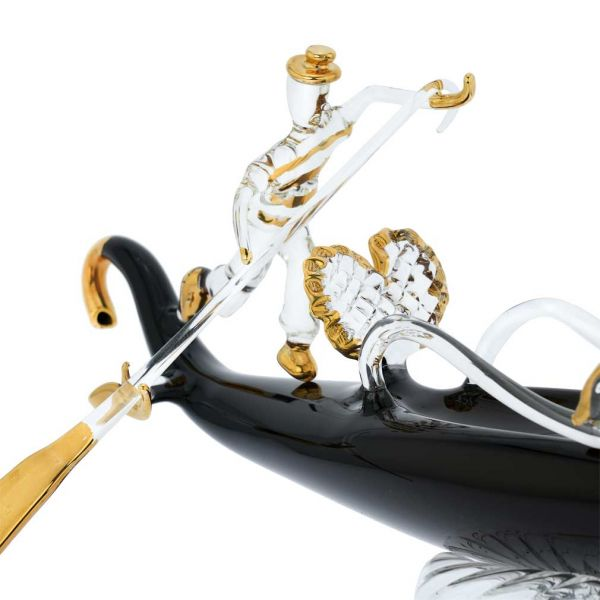 Murano Glass Blown Gondola With Gondolier - Large