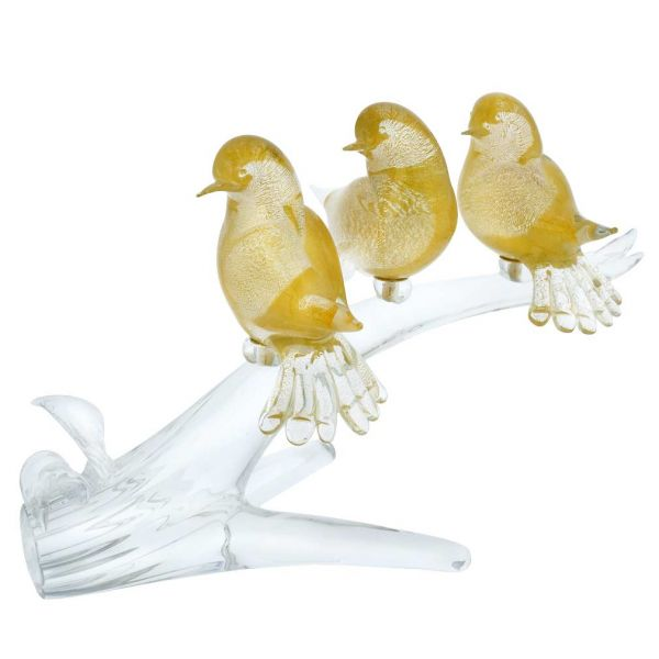 Murano Glass Birds On A Branch - Gold
