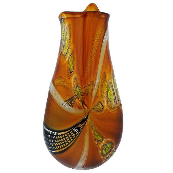 Battuto Murano Glass Vase - Amber Brown