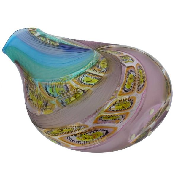 Battuto Murano Glass Vase - Aqua Purple