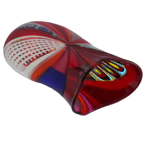 Battuto Murano Glass Vase - Red