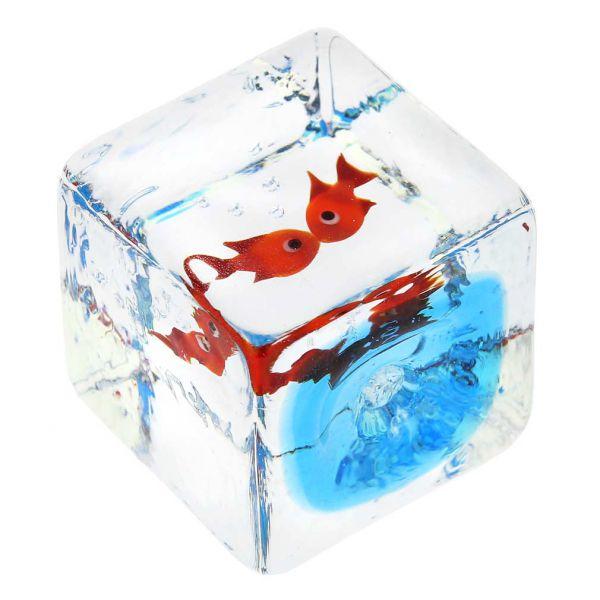 Murano Glass Aquarium Cube With Two Goldfish - 1-1/4 inches