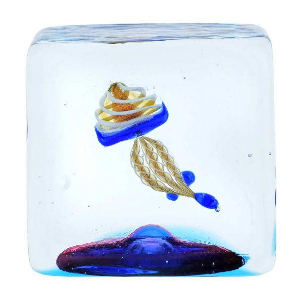 Murano Glass Aquarium Cube With Jellyfish - 1-1/4 inches