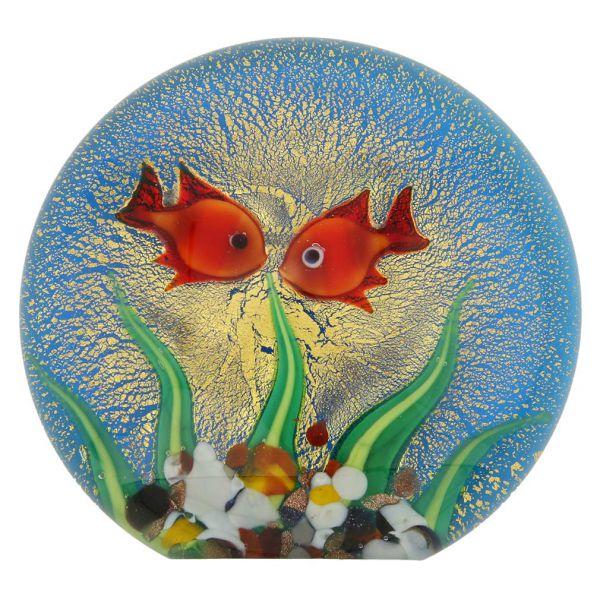 Murano Glass Aquarium With Goldfish and Sun