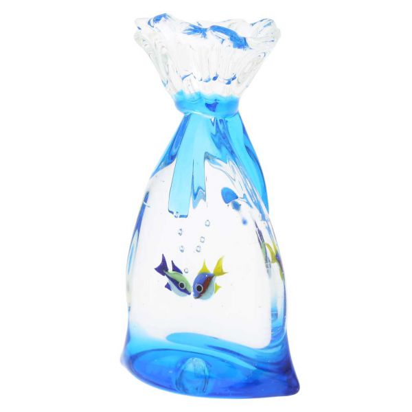 Murano Glass Aquarium Bag With Two Tropical Fish - 3-1/4 inches