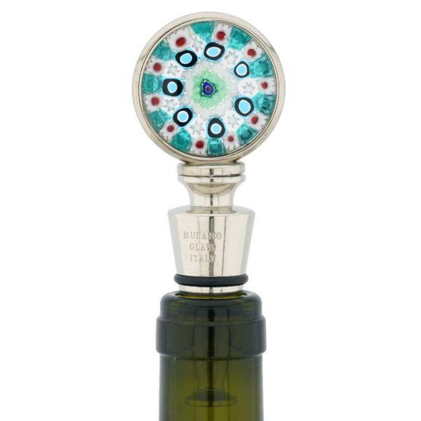 Murano Glass Millefiori Round Bottle Stopper - Green