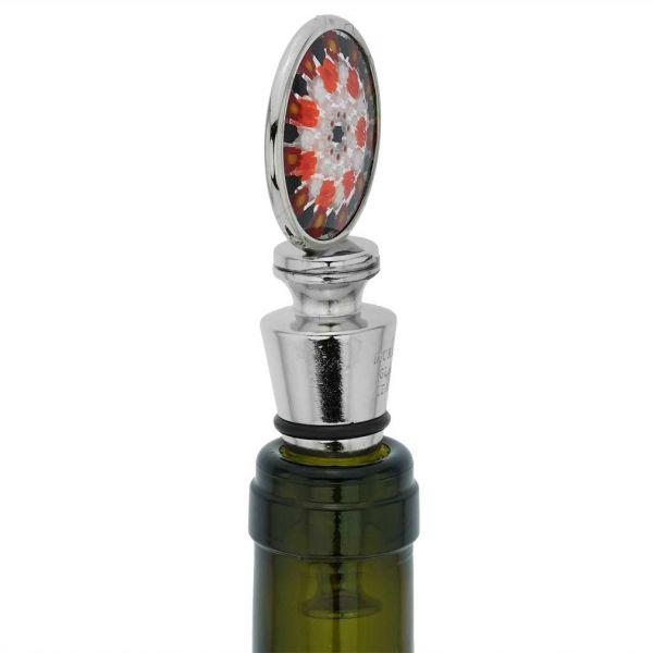 Murano Glass Millefiori Round Bottle Stopper - Red
