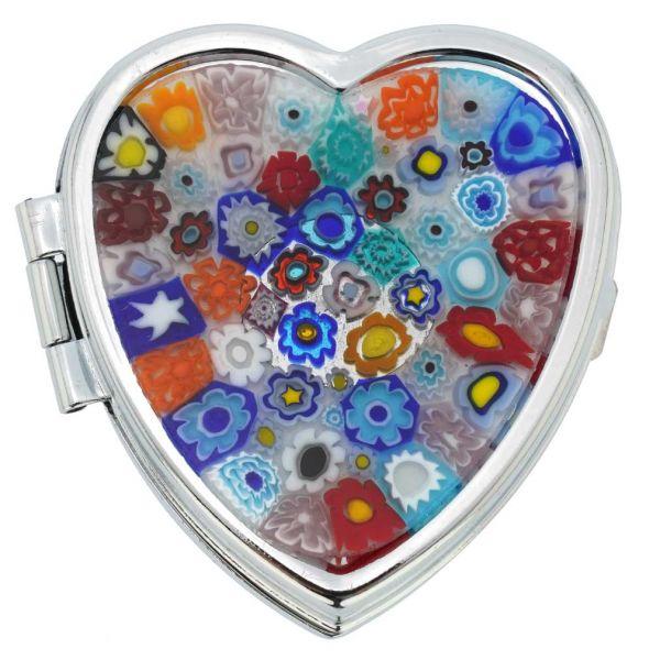 Murano Millefiori Heart Pill Box - Multicolor