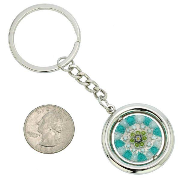 Murano Millefiori Disk Keychain - Green